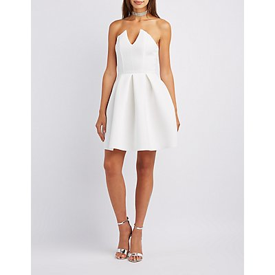 Strapless Scuba Skater Dress