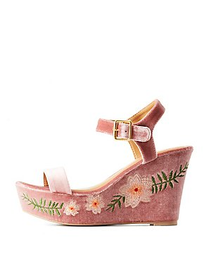 Velvet Embroidered Two-Piece Wedges