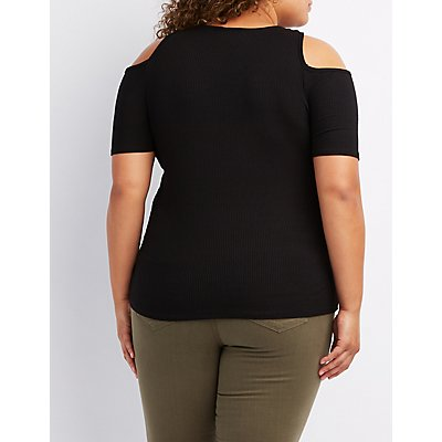 Plus Size Ribbed Lace-Up Cold Shoulder Top