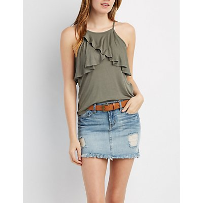 Ruffle-Trim Cold Shoulder Top