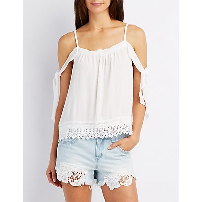 Crochet-Trim Tie Sleeve Cold Shoulder Top