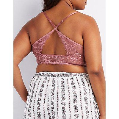 Plus Size Caged Lace Cut-Out Bralette