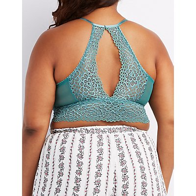 Plus Size Lace Bib Neck Cut-Out Bralette