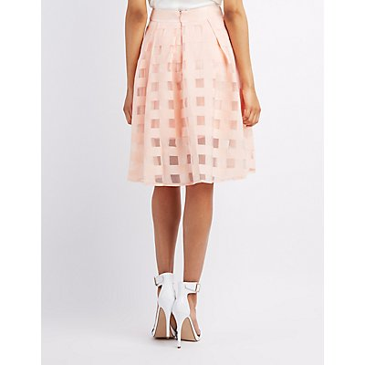 Windowpane Organza Midi Skirt