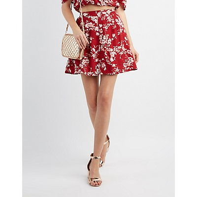 Floral Button-Up Skater Skirt