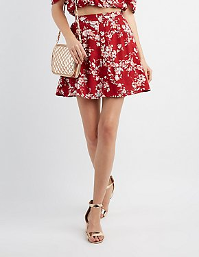 Floral Button-Up Skater Skirt