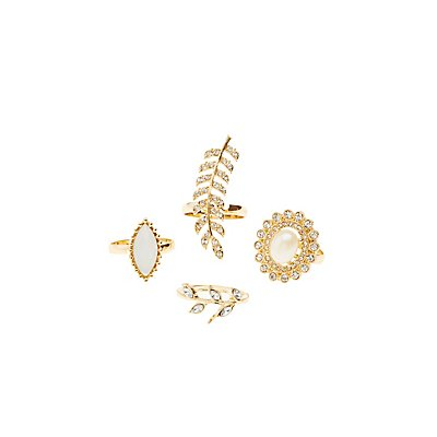 Plus Size Embellished Leaf Statement Rings - 4 Pack