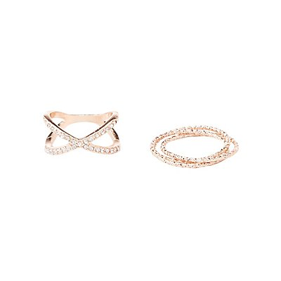 Plus Size Embellished Statement Rings - 4 Pack