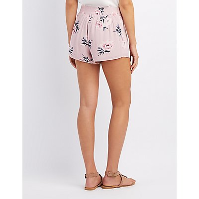 Tie-Front Floral Shorts