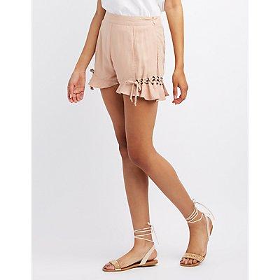 Lace-Up Ruffle-Trim Shorts