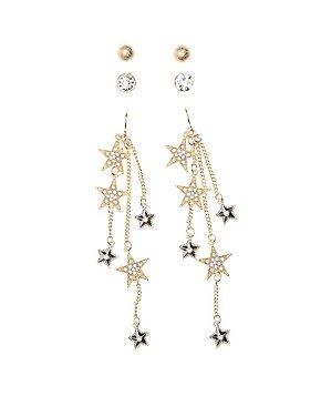 Embellished Star Drop & Stud Earrings - 3 Pack