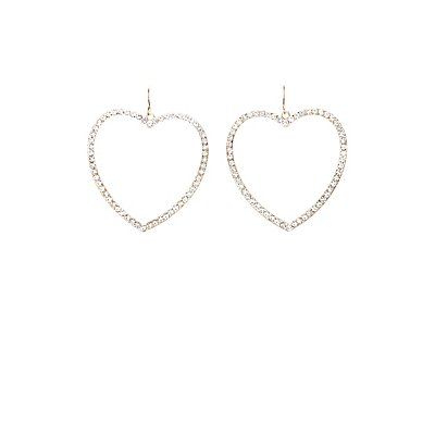 Embellished Heart Hoop Earrings