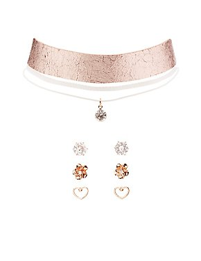 Metallic Choker Necklaces & Earrings Set