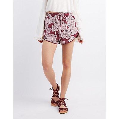 Boho Crochet-Trim Drawstring Shorts