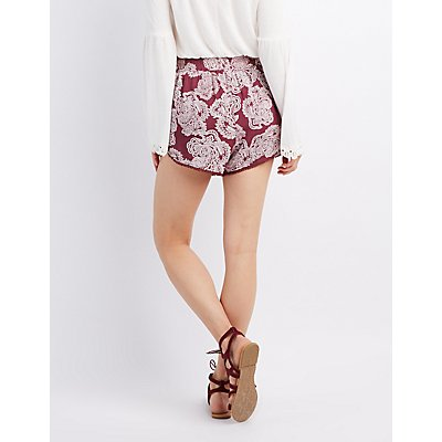 Boho Crochet-Trim Drawstring Shorts