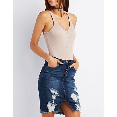 Snap-Front Backless Bodysuit