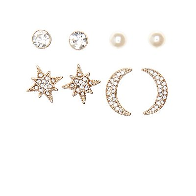 Celestial Drop & Stud Earrings - 6 Pack