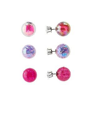 Double-Sided Stud Earrings - 3 Pack