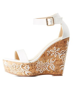 Embroidered Two-Piece Cork Wedge Sandals