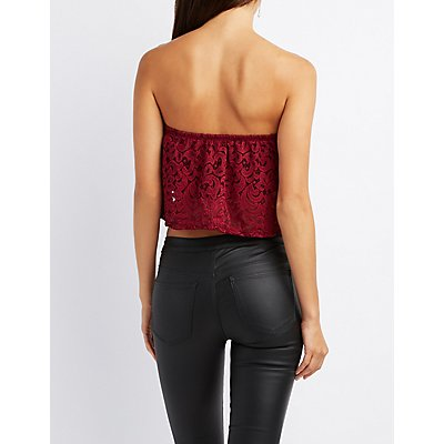 Strapless Lace Crop Top