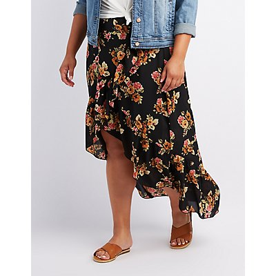 Plus Size Floral Ruffle-Trim High-Low Skirt