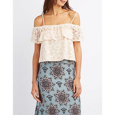 Lace Crochet-Trim Cold Shoulder Top
