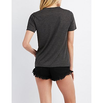 T-Strap Cut-Out Graphic Tee