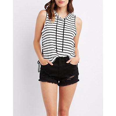 Striped Lace-Up Tank Hoodie