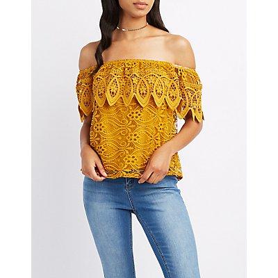 Crochet-Trim Lace Off-The-Shoulder Top