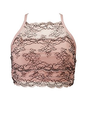 Plus Size Lace Bib Neck Bralette