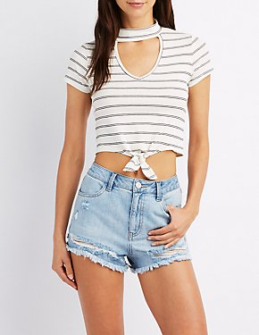 Striped Choker Neck Crop Top