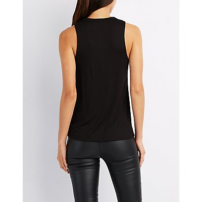 Lace-Up Front Tank Top