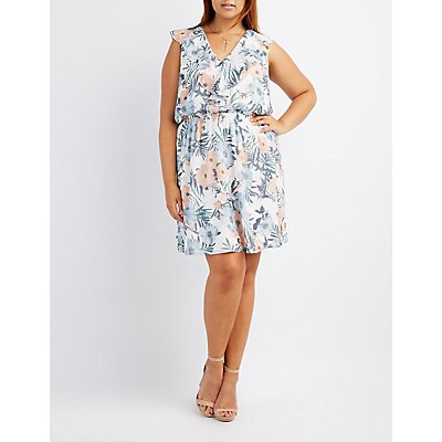 Plus Size Floral Ruffle-Trim Skater Dress