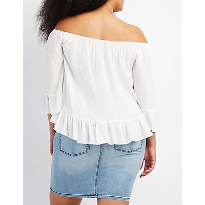 Plus Size Ruffle-Trim Off-The-Shoulder Top