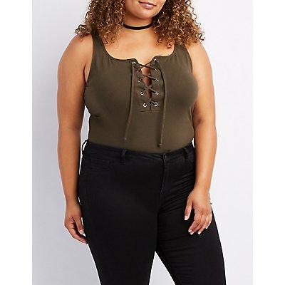 Plus Size Lace-Up Bodysuit