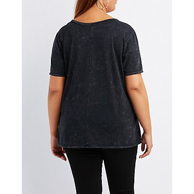 Plus Size Graphic Lace-Up Tee