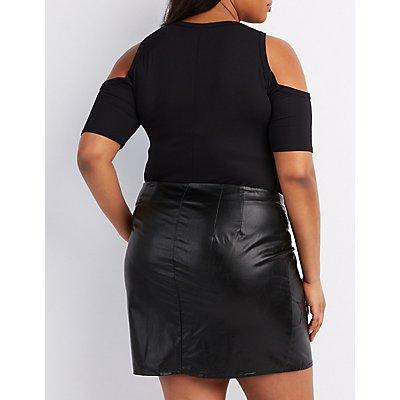 Plus Size Lace-Up Cold Shoulder Bodysuit