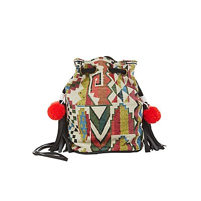 Tribal Woven Bucket Bag