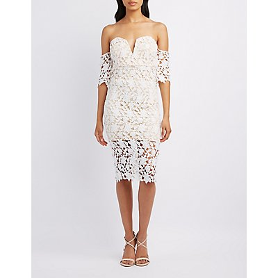 Crochet Overlay Off-The-Shoulder Dress