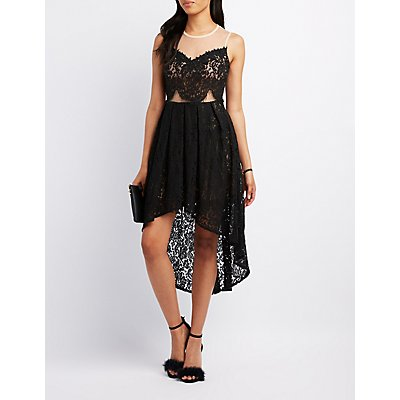 Mesh & Lace High-Low Dress