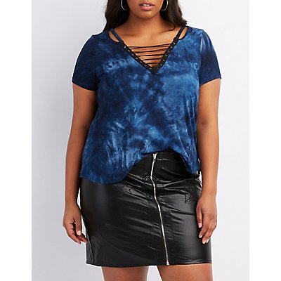 Plus Size Tie Dye Lace-Up Tee