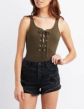 Sleeveless Lace-Up Bodysuit