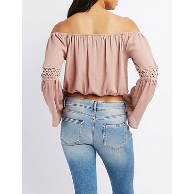 Crochet-Trim Off-The-Shoulder Bell Sleeve Top