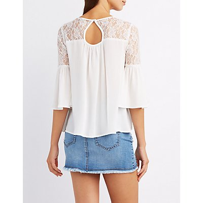 Lace-Trim Trumpet Sleeve Top