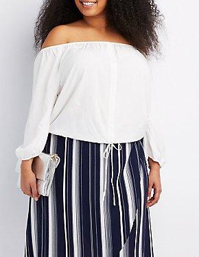Plus Size Off-The-Shoulder Button-Up Top