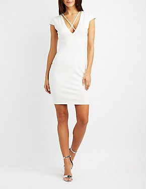 Strappy Plunging Bodycon Dress