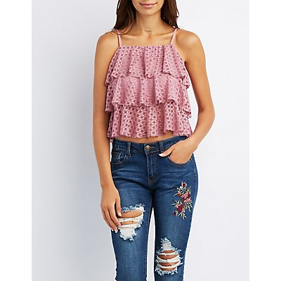 Lace Tiered Ruffle Tank Top