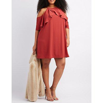 Plus Size Ruffle-Trim Cold Shoulder Dress