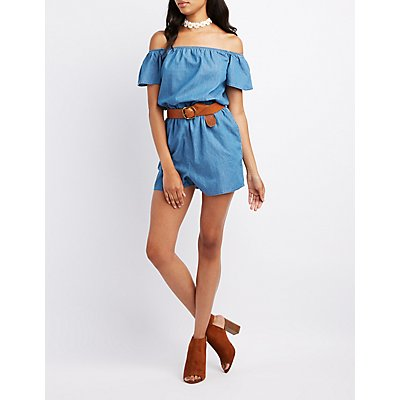 Chambray Off-The-Shoulder Romper