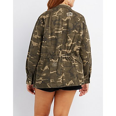 Plus Size Destroyed Camo Anorak Jacket